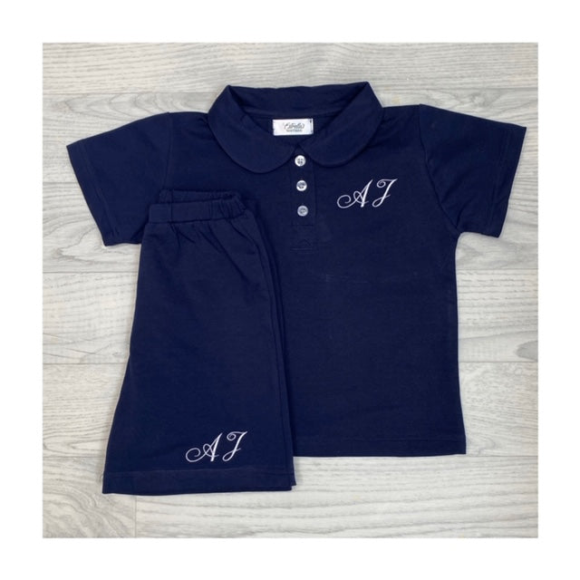 Estrella's Personalised Navy Peter Pan Short Set