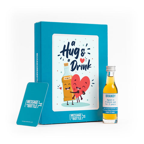 A hug and a drink card