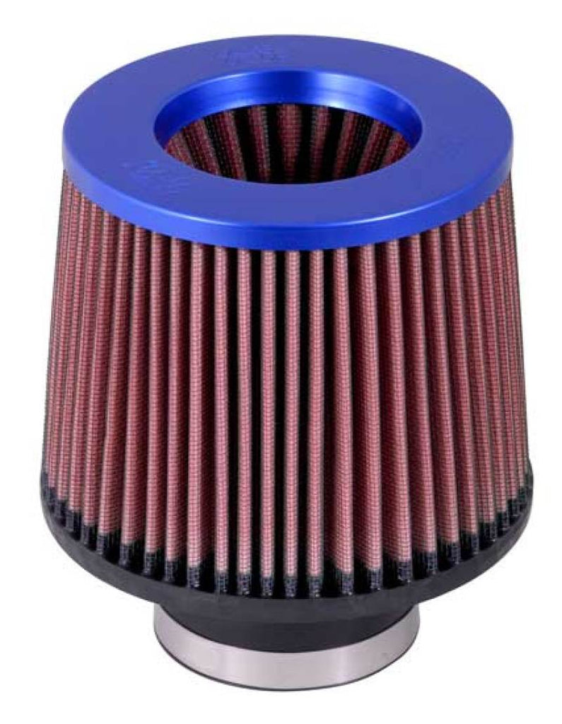 K&N Universal Filter 3 inch Flange 6 inch Base 5 1/4 inch Top 5 inch Height w/ Blue Top