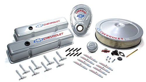 Proform 141-360 Metallic Gray Engine Dress-Up Kit with Red Chevrolet/Blue Bowtie Logo for Small Block Chevy