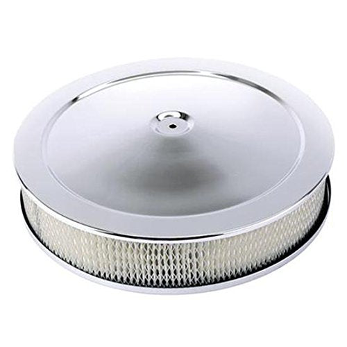 Universal Chrome Deep Dish Performance Air Cleaner, 14 x 2 Inch, 4 Barrel Carb.
