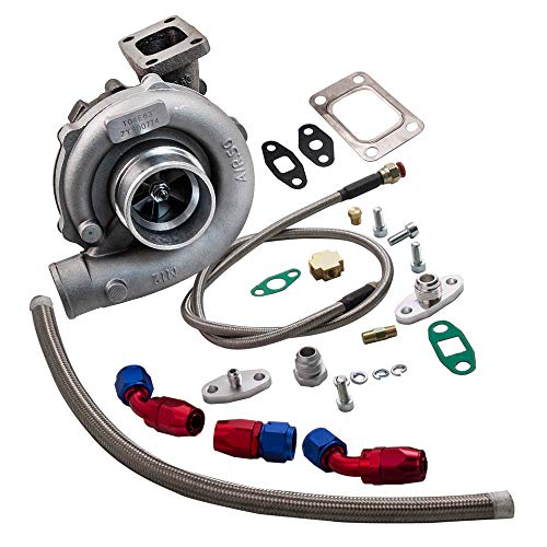 maXpeedingrods T3/T4 T04E High Performance Turbocharger Turbo +Oil Feed And Return Line Kit