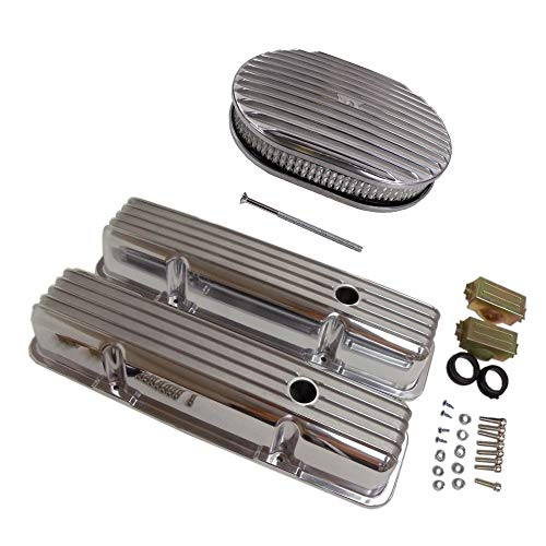 For 58-86 SBC Chevy 350 Finned Aluminum Valve Covers Air Cleaner Dress-Up Kit