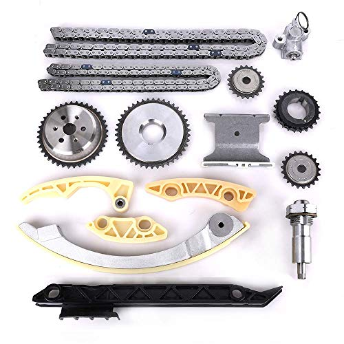 Engine Timing Chain Kit w/Chain Guide Tensioner Sprocket - Fit for 2.0L 2.2L 2.4L Buick Chevy GMC Pontiac Saab Saturn - Replace # 12680750 9-4201S 9-4201SX