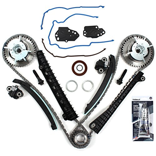 New ETCK460GSI Timing Chain Kit, Timing Cover Seals, Cam Phasers w/Mounting Bolts, RTV Gasket Maker for 2004-08 Ford 5.4L (3-Valve) Engine Expedition F-150 F-250 Super F-350 Super / Lincoln