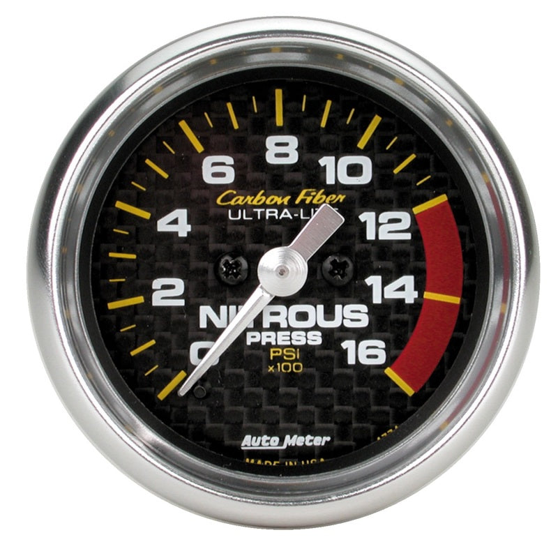 Autometer Carbon Fiber 52mm 0-1600 PSI Full Sweep Electronic Nitrous Pressure Gauge