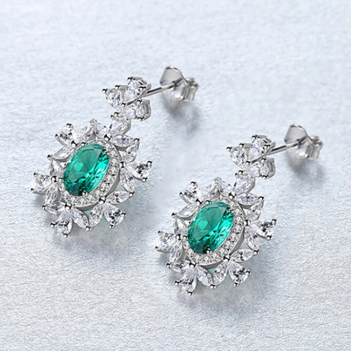 PURE 92.5 STERLING SILVER EMERALD & CZ DANGLE EARRINGS - Enumu