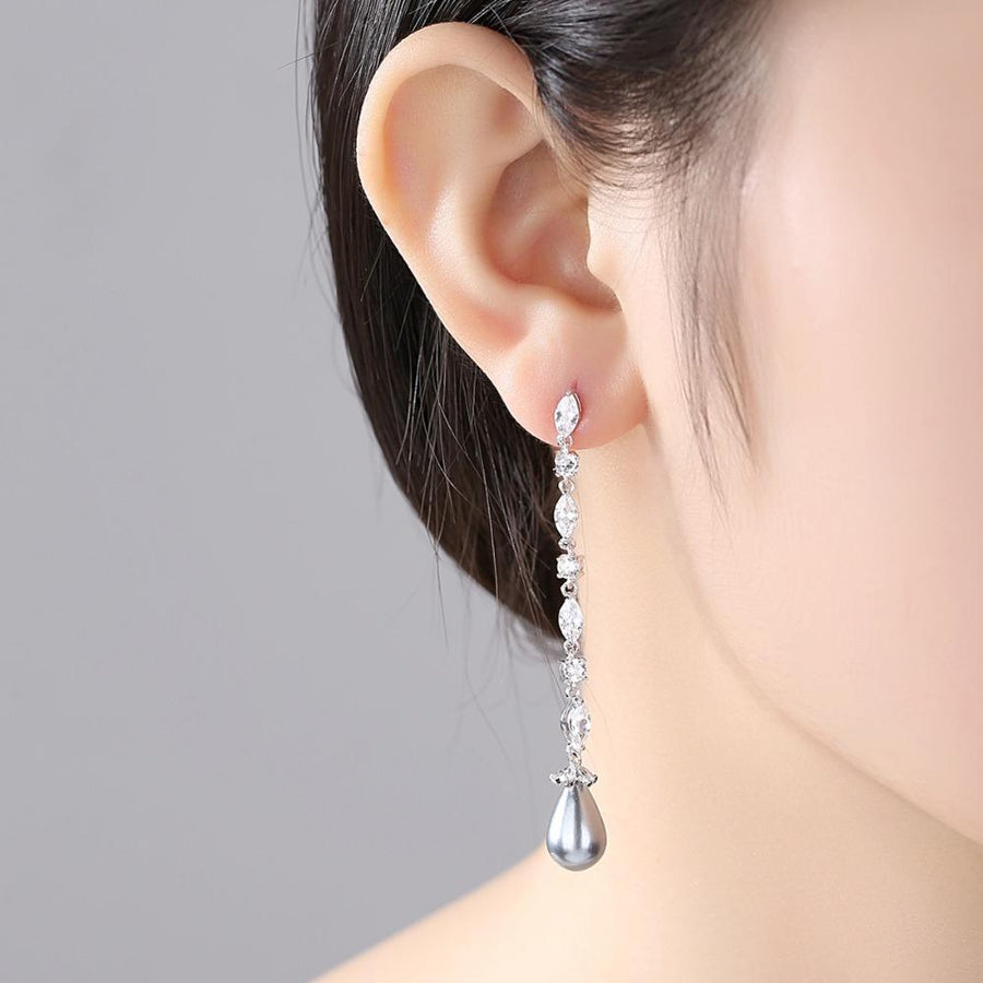 Gray Pearl and Swiss CZ Dangle Earrings - Enumu
