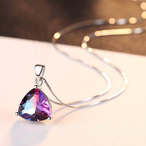 Sterling Silver Rainbow Fire Mystic Topaz Necklace - Enumu