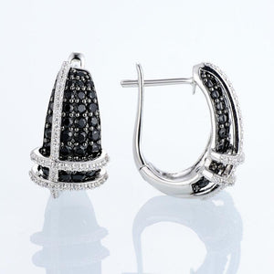Pure 92.5 Sterling Silver Black Sapphire & CZ Earrings - Enumu