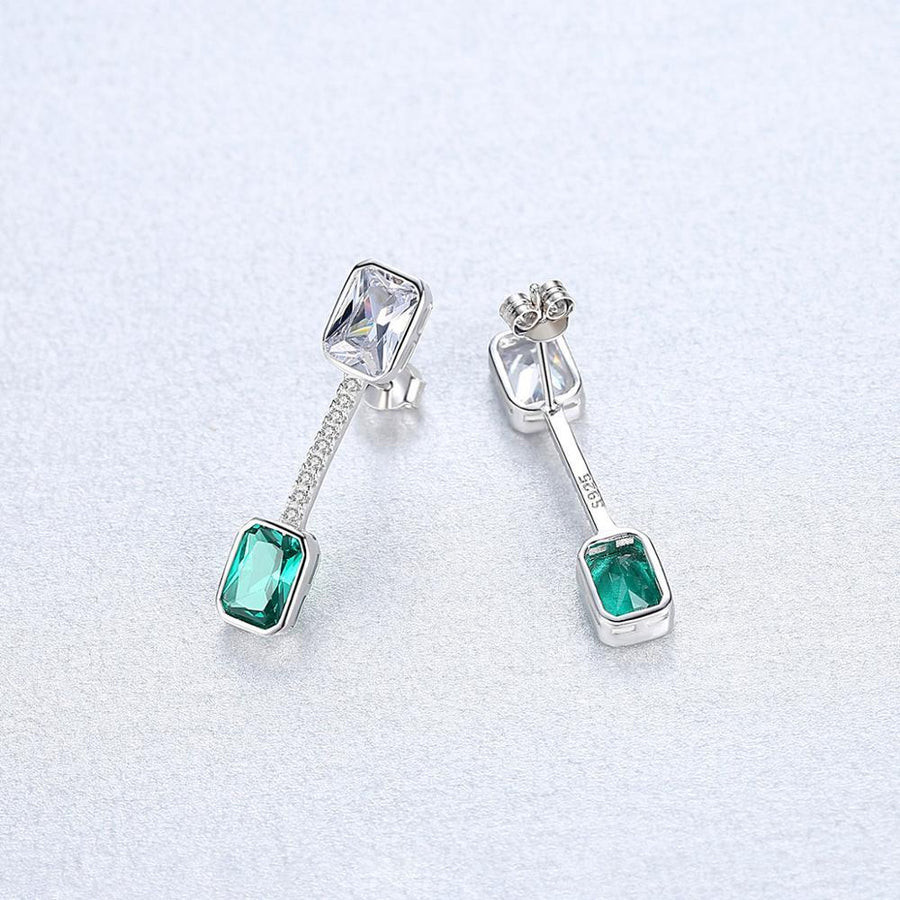 Sterling Silver Emerald and CZ Dangle Earrings - Enumu