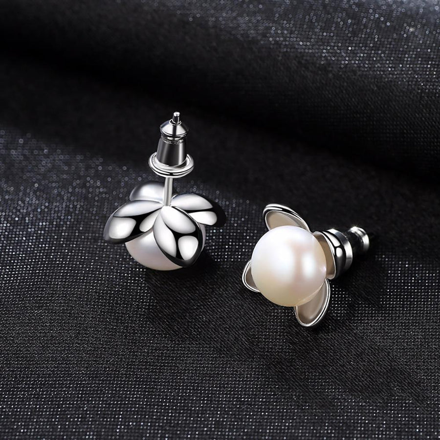Sterling Silver Natural Gray Pearl Studs - Enumu