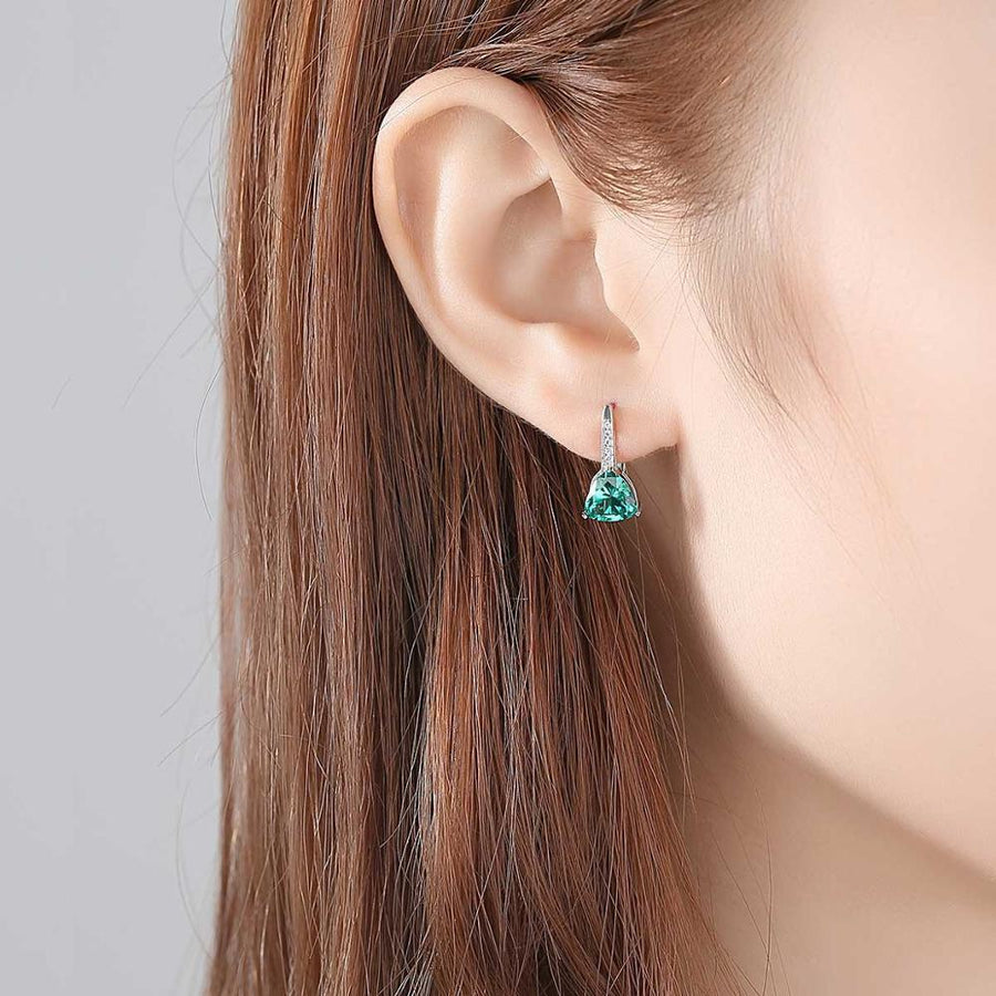 Sterling Silver Emerald Hoops - Enumu