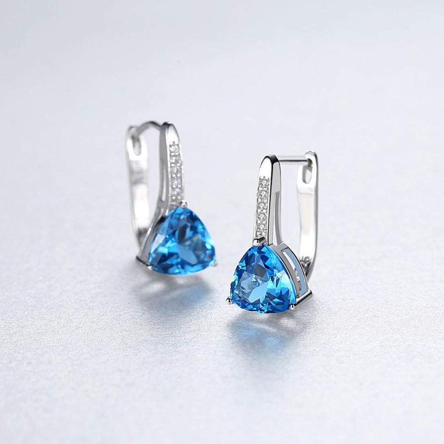 Sterling Silver Blue Topaz Hoops - Enumu