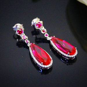 Pure 92.5 Sterling Silver 8.89 Ct Ruby & CZ Dangle Earrings - Enumu