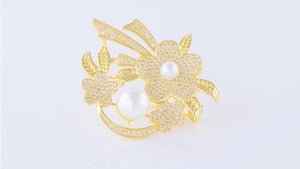 YGP Pearl Flower Brooch or Saree Pin - Enumu