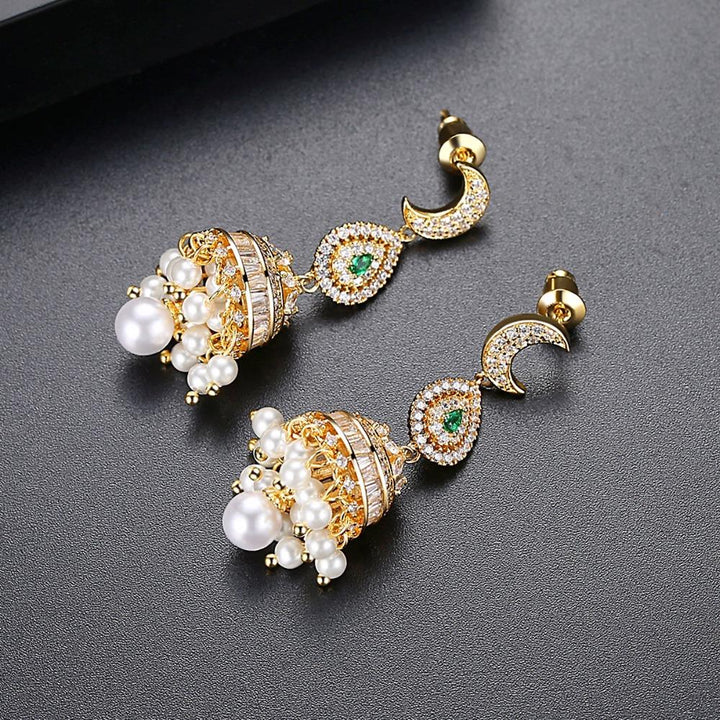 Long Dangle Festive CZ Jhumki / Jhumka - Enumu