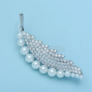 Pearl Leaf Brooch or Saree Pin - Enumu