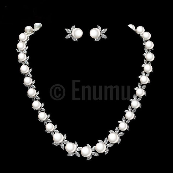 Single Line Pearl Necklace Set - Enumu