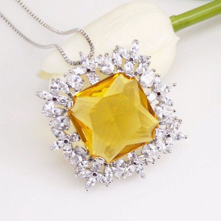 Big Citrine Pendant with Chain - Enumu