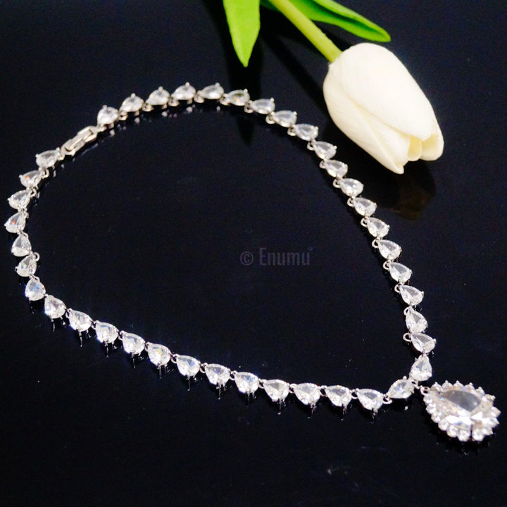 Swiss Zircon Diamond Drop Necklace - Enumu