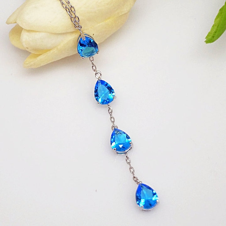 Aquamarine Long Pendant with Chain - Enumu
