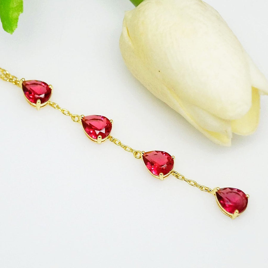 Ruby Long Pendant with Chain - Enumu