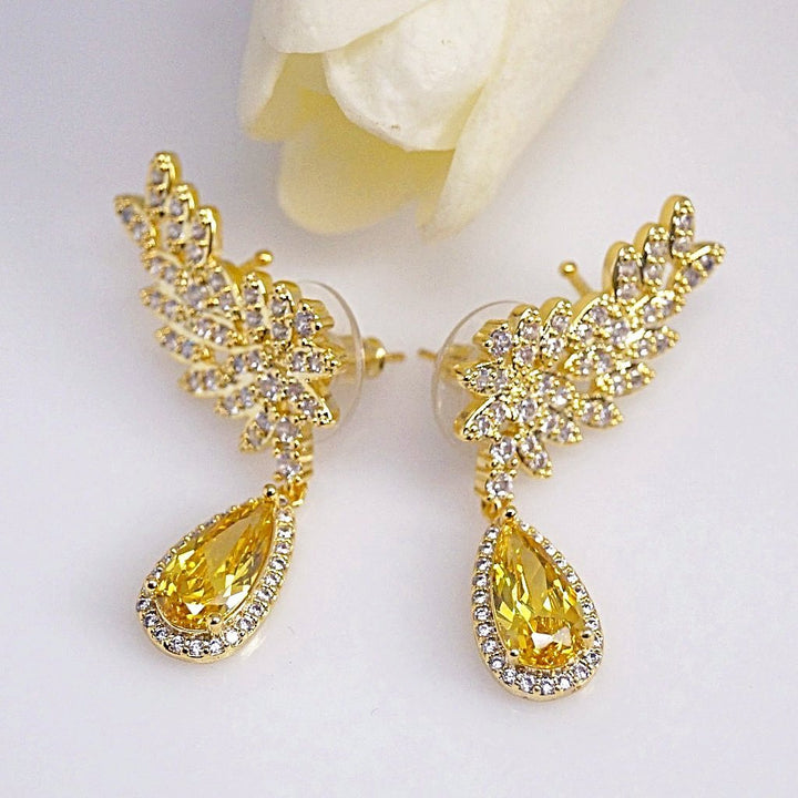 Citrine Cuffs & Dangle Earrings - Enumu