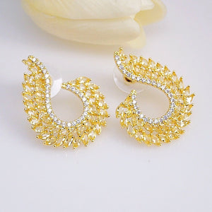 Super Big Yellow Citrine CZ Studs - Enumu