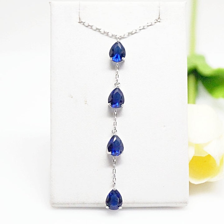 Blue Sapphire Long Pendant with Chain - Enumu