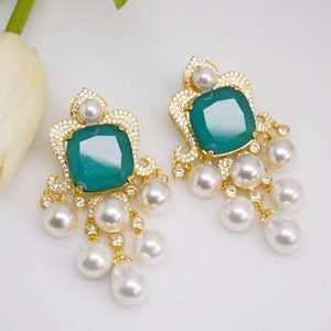 YGP Emerald Pearl Dangle Earrings - Enumu