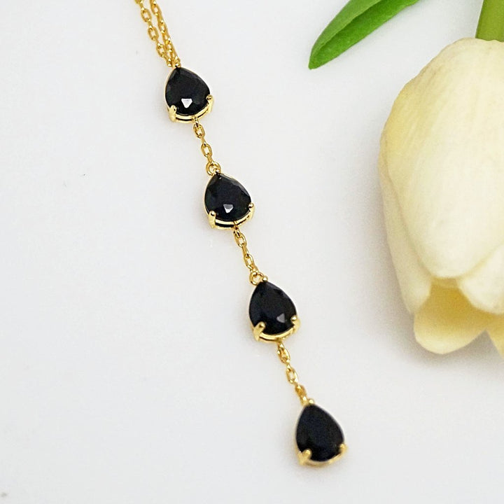 Black Sapphire Long Pendant with Chain - Enumu