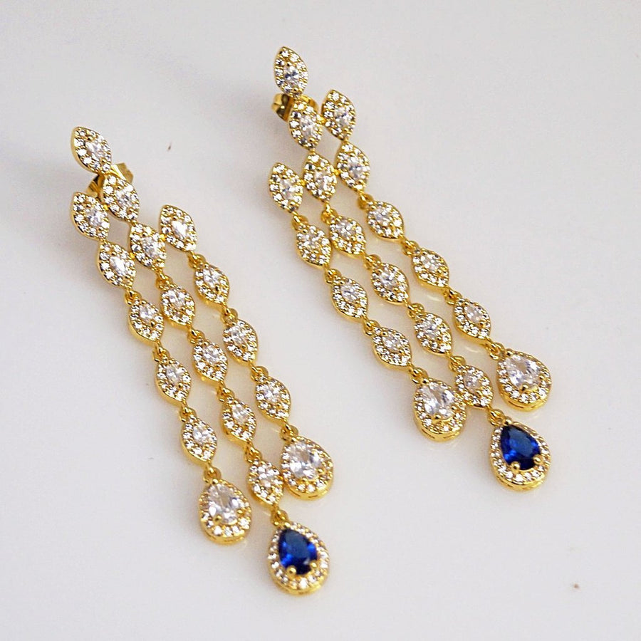Blue Sapphire CZ Dangle earrings - Enumu