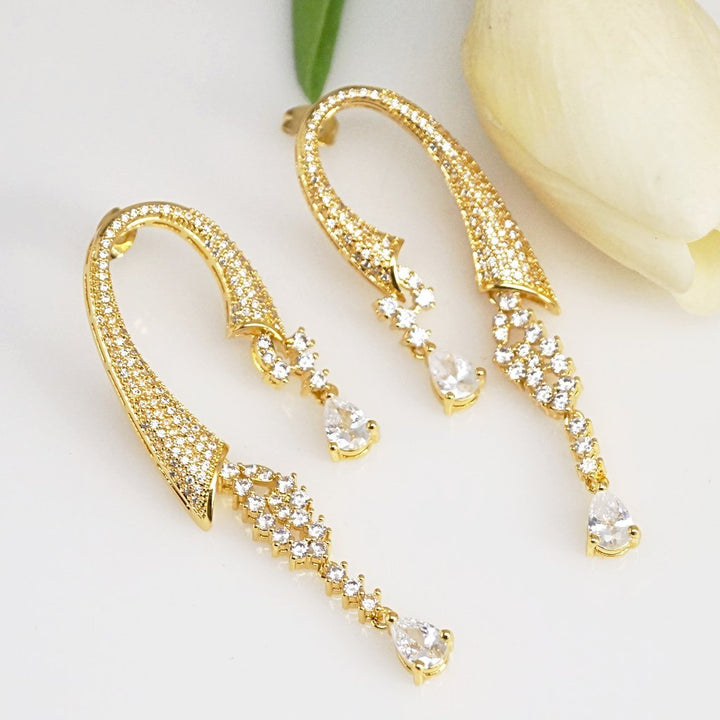 Wedding Zircon Dangle Earrings - Enumu