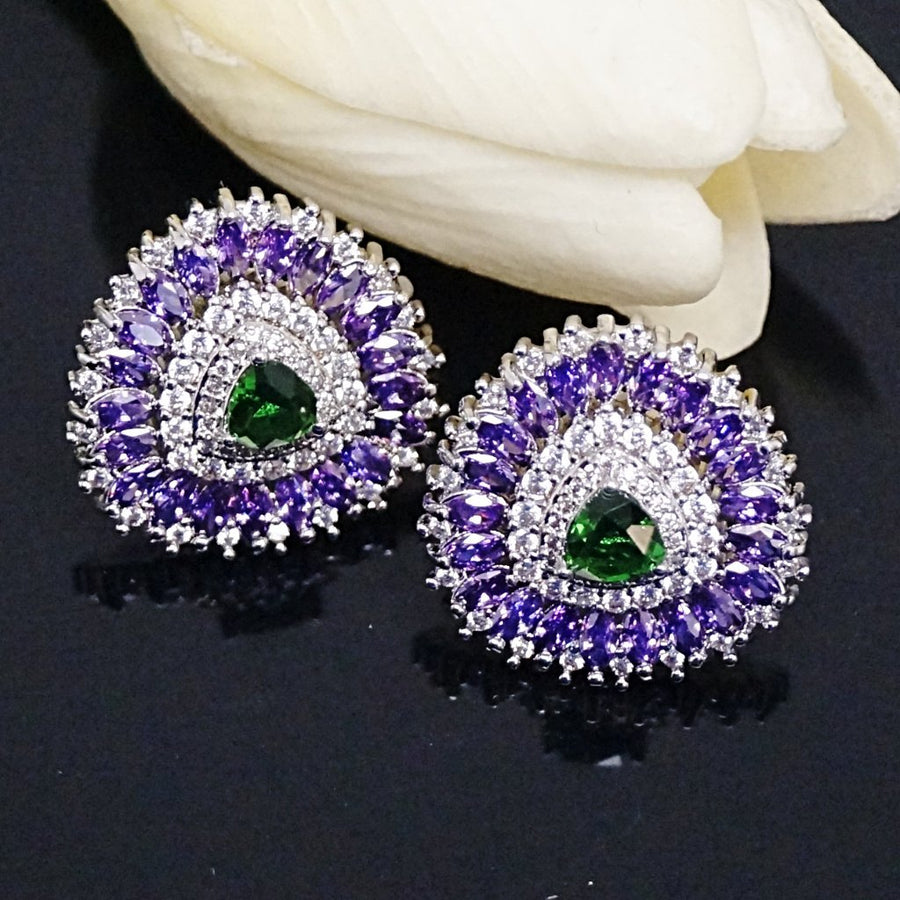Amethyst and Emerald Studs - Enumu