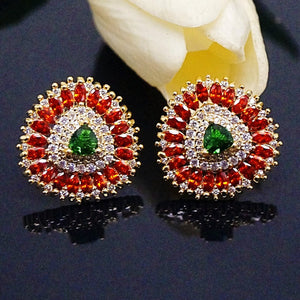 Orange Spessartine & Emerald Studs - Enumu