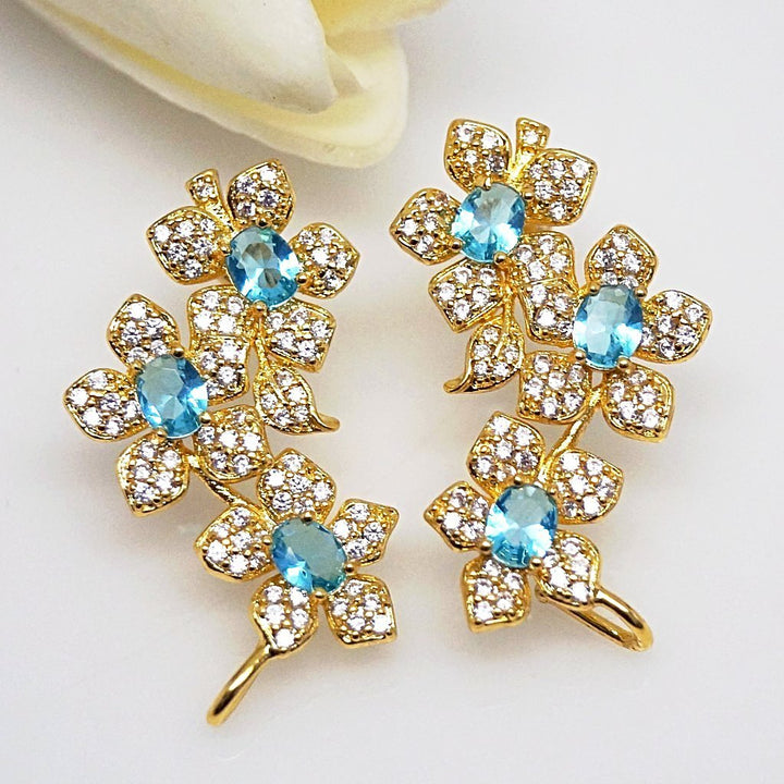 Light Blue Aquamarine Flower Studs - Enumu