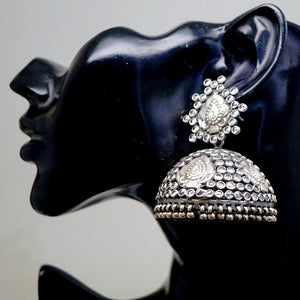 Pure 92.5 Big Silver Jhumkas with CZ Stones - Enumu