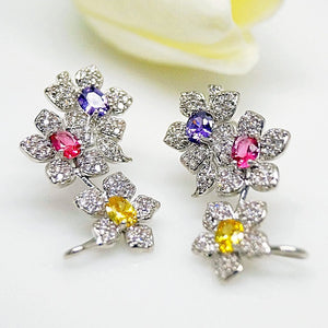 Multi Color Flower Studs - Enumu