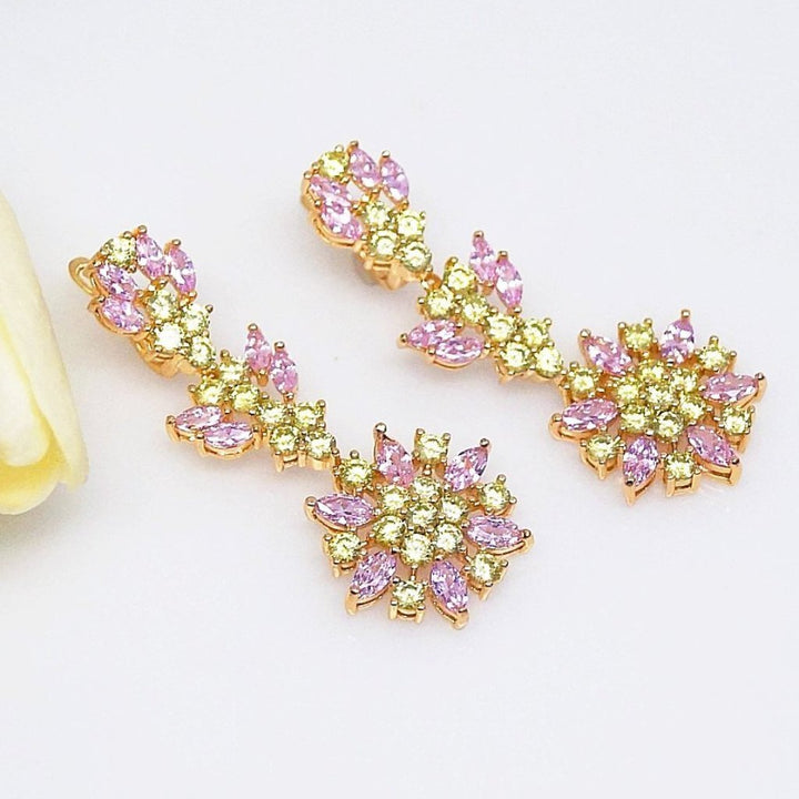 Pink Flower & Citrine Drop Dangle Earrings - Enumu