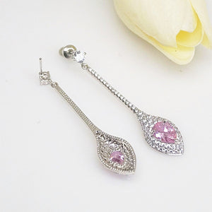 Pink Tourmaline Designer Long Dangle Earrings - Enumu
