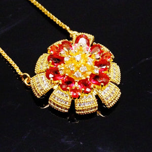 Huge Ruby Flower Pendant - Enumu