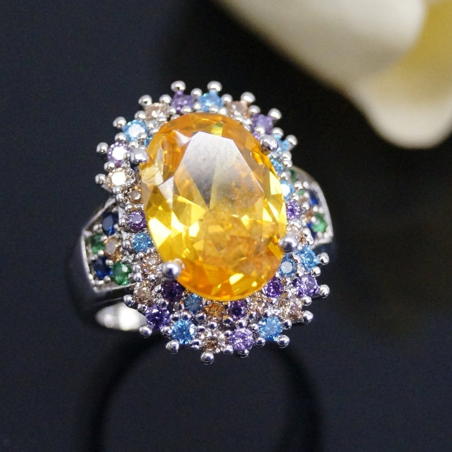 Super Big Yellow Citrine Ring - Enumu