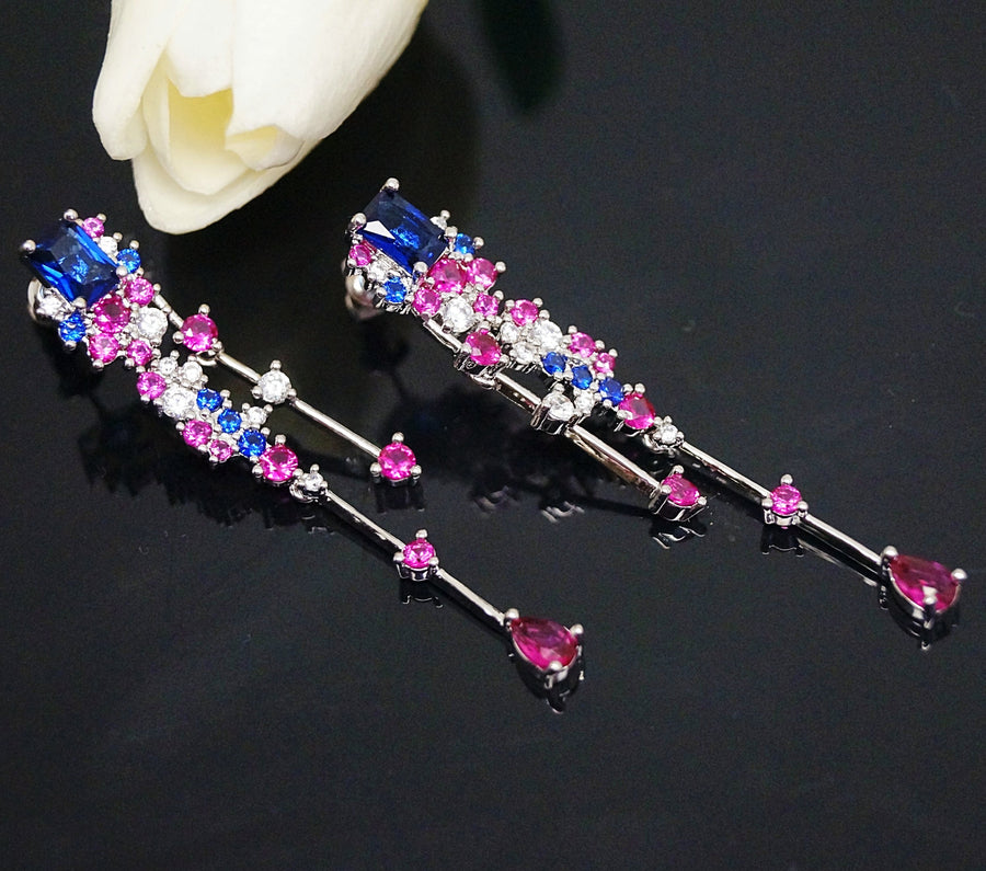 Blue Sapphire Ruby Dangle Earrings - Enumu
