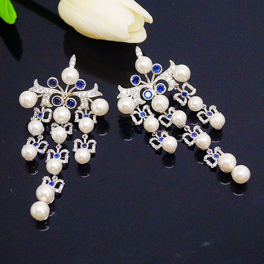 Super Long & Big Pearl Blue Sapphire Dangle Earrings - Enumu