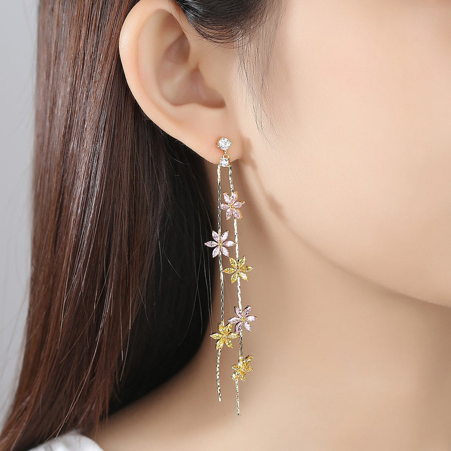Citrine Tourmaline Star Sparkle Dangle Earrings - Enumu