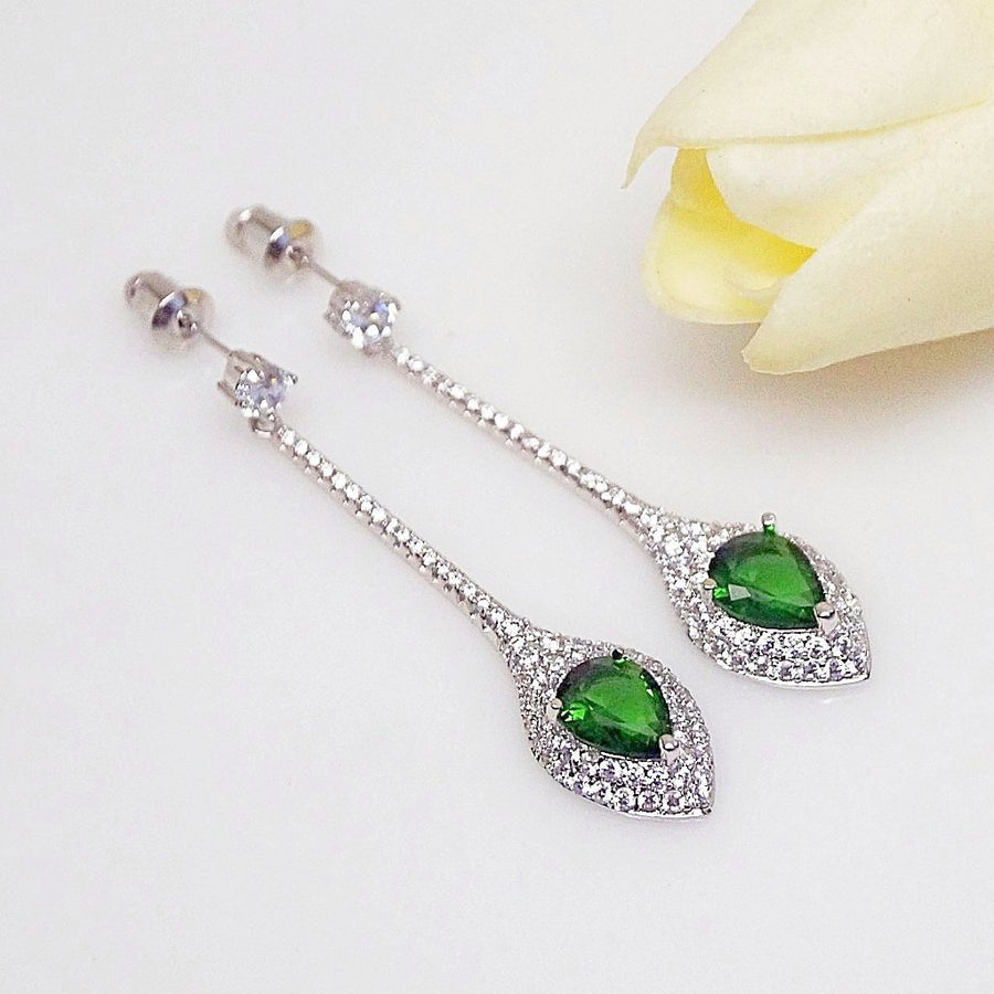 Emerald Designer Long Dangle Earrings - Enumu