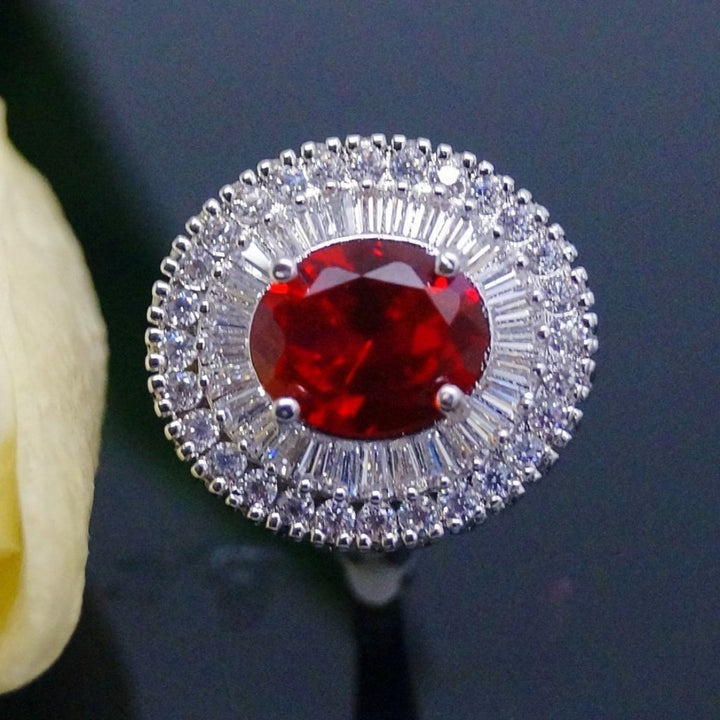 Super Big Ruby and CZ Ring - Enumu