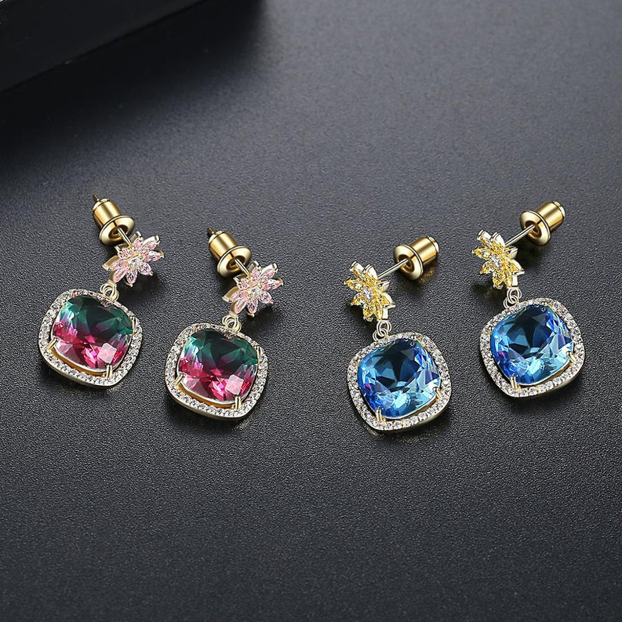Two Shade Rainbow Stone Dangle Earrings - Enumu