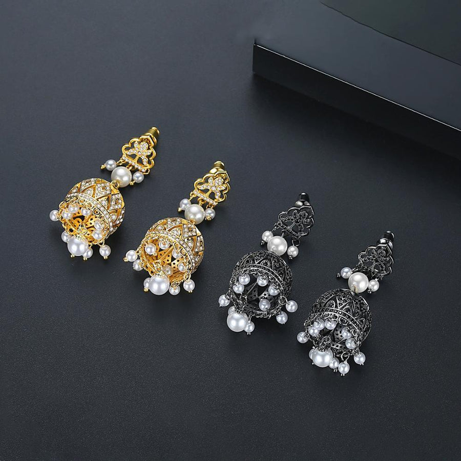 BGP Black Sapphire Pearl Jhumka /Jhumki Earrings - Enumu